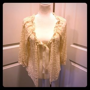 Lace cardigan with satin tie